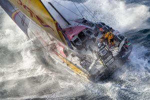 March 19, 2015. Abu Dhabi Ocean Racing tackles steep and angry seas as they pass East Cape, the eastern-most point of New Zealand